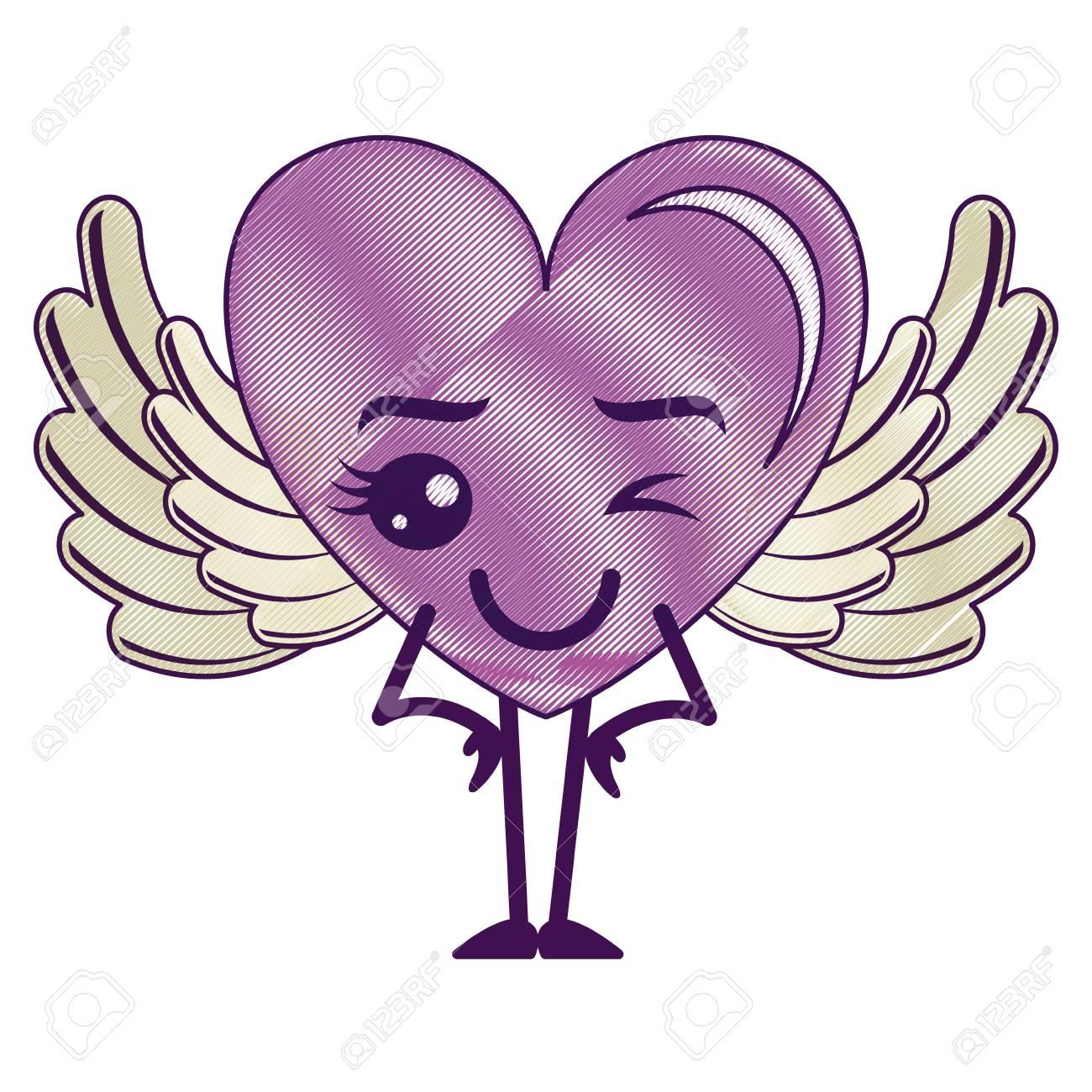 Corazón De Amor Feliz Con Alas De Diseño De Ilustración Vectorial De