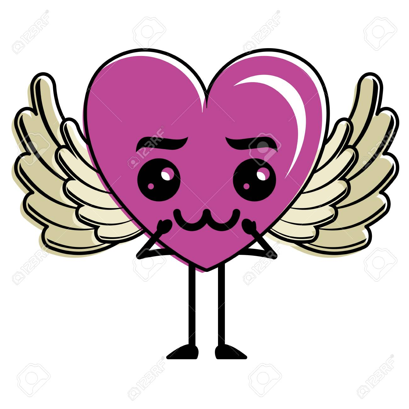 Corazón Amor Con Alas Triste Kawaii Personaje Vector Ilustración
