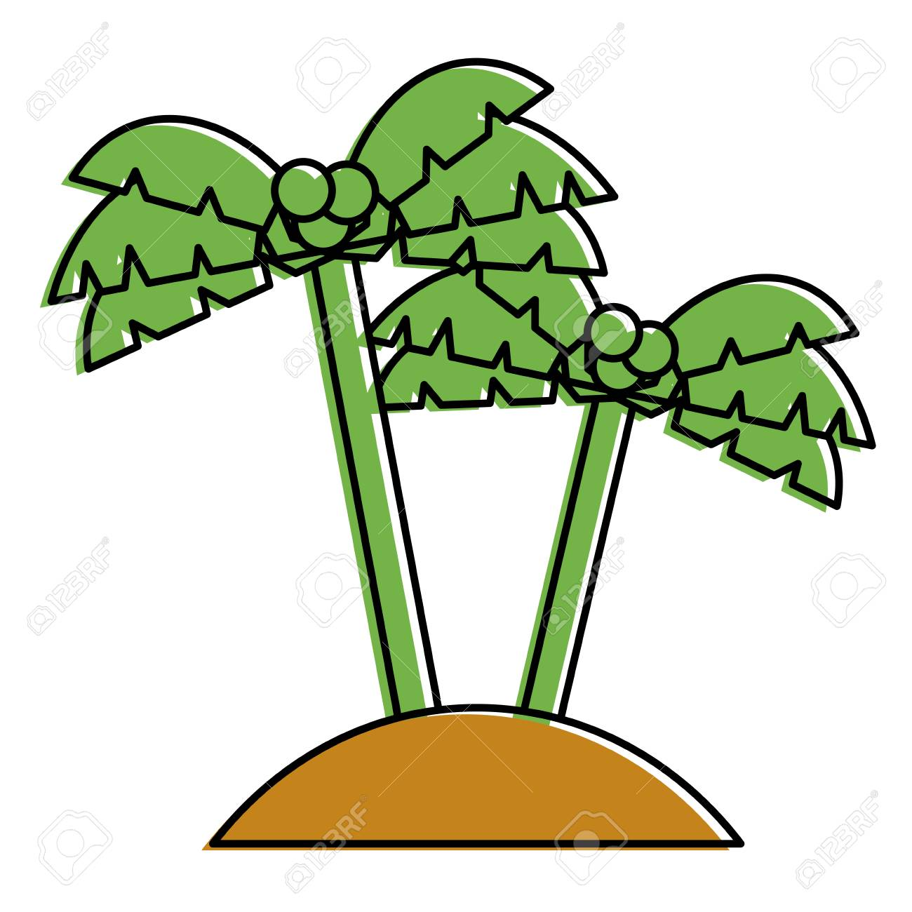 Two Palms Tree Coconut Beach Sand Vector Illustration Royalty Free ...