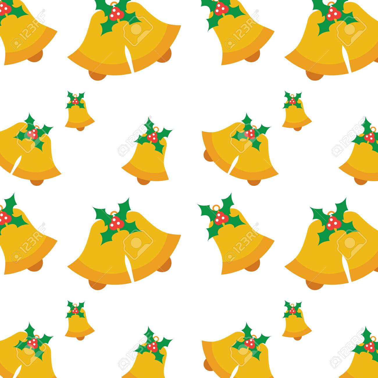 Christmas With Holly.Seamless Pattern With Jingle Bells Christmas With Holly Berry