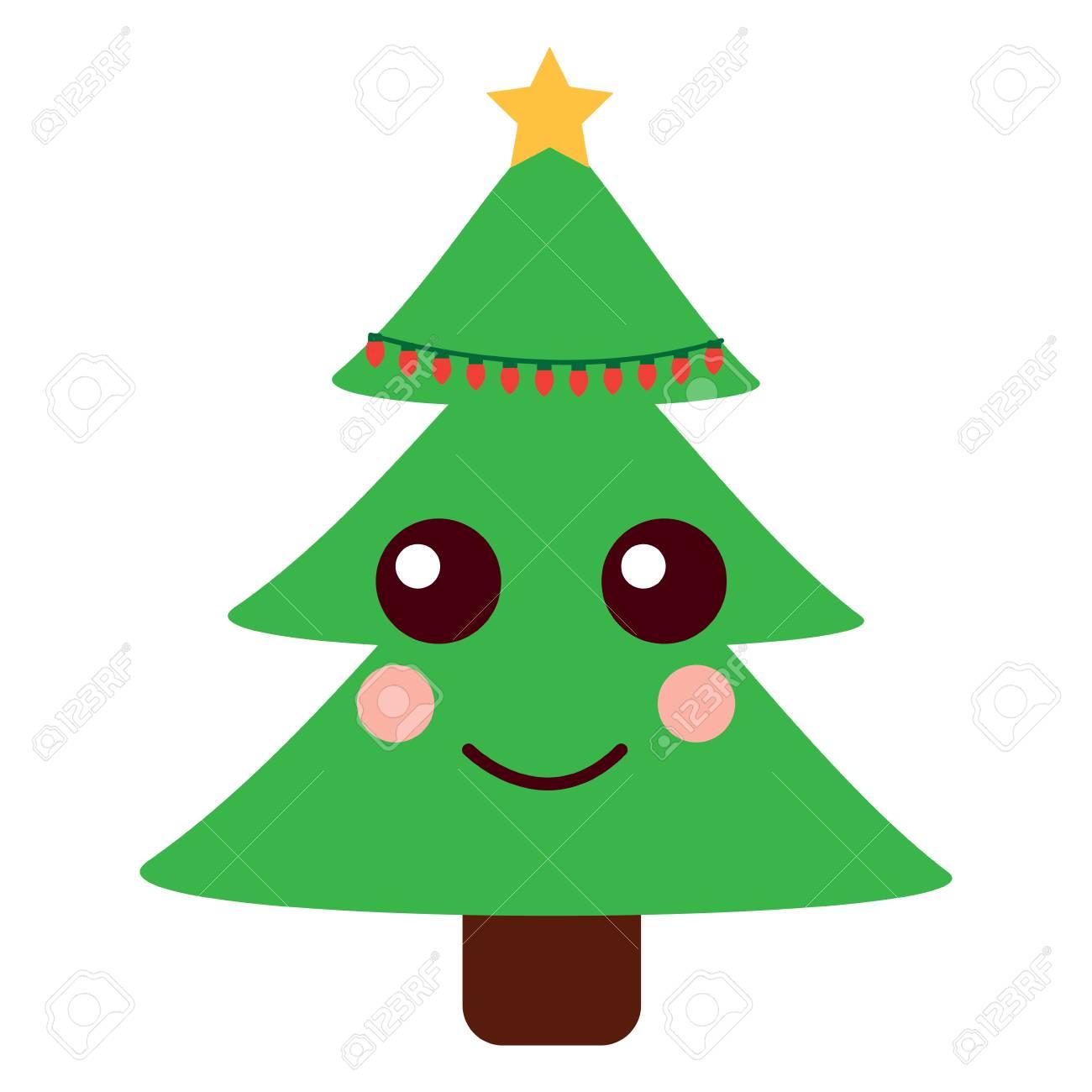Kawaii Christmas.Kawaii Christmas Tree Cartoon Celebration Vector Illustration
