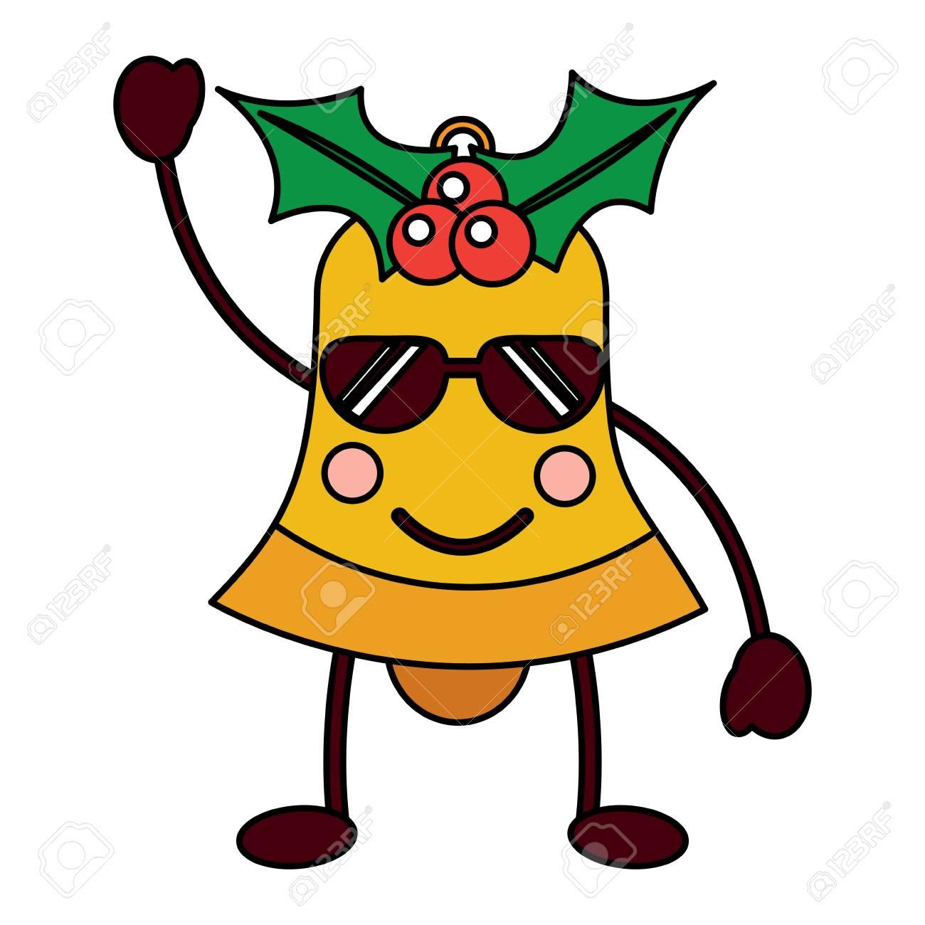 Kawaii Christmas Jingle Bell Cartoon Vector Illustration Royalty ...