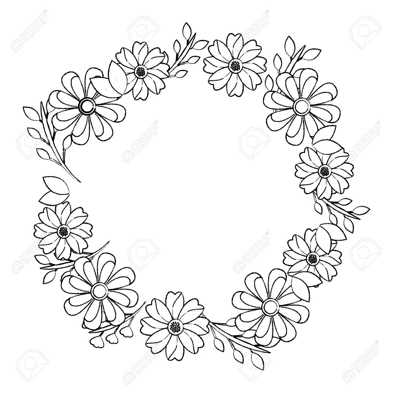Flower Crown Emblem Icon Image Vector Illustration Design Black