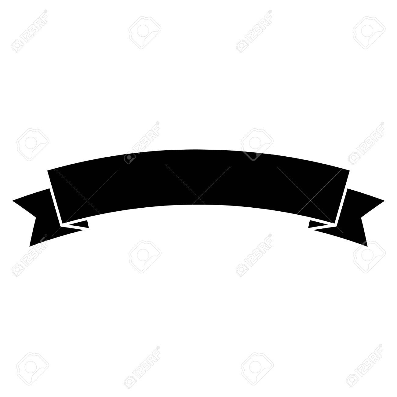 Ribbon banner icon image. Vector illustration design black and white. - 93448030