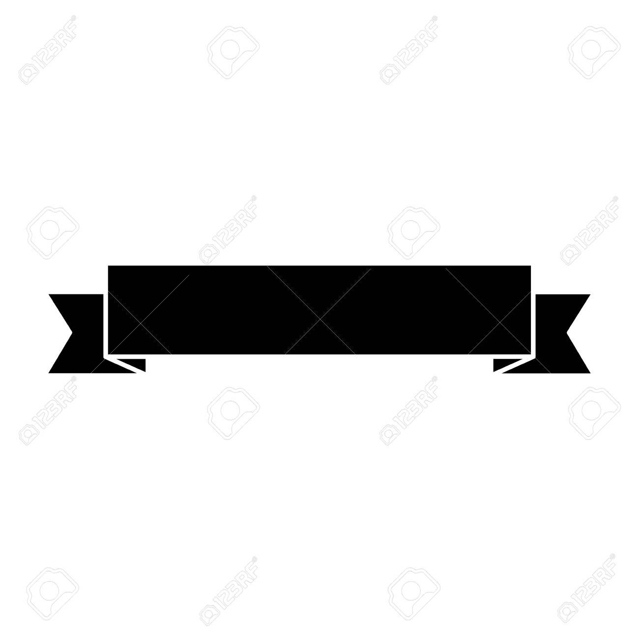 Ribbon banner icon image. Vector illustration design black and white. - 93448040