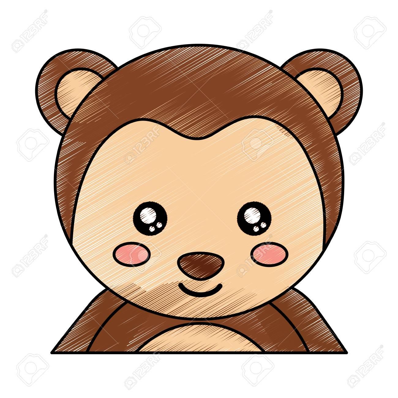 Desenho De Ilustracao De Vetor De Bebe Animal De Macaco De Retrato