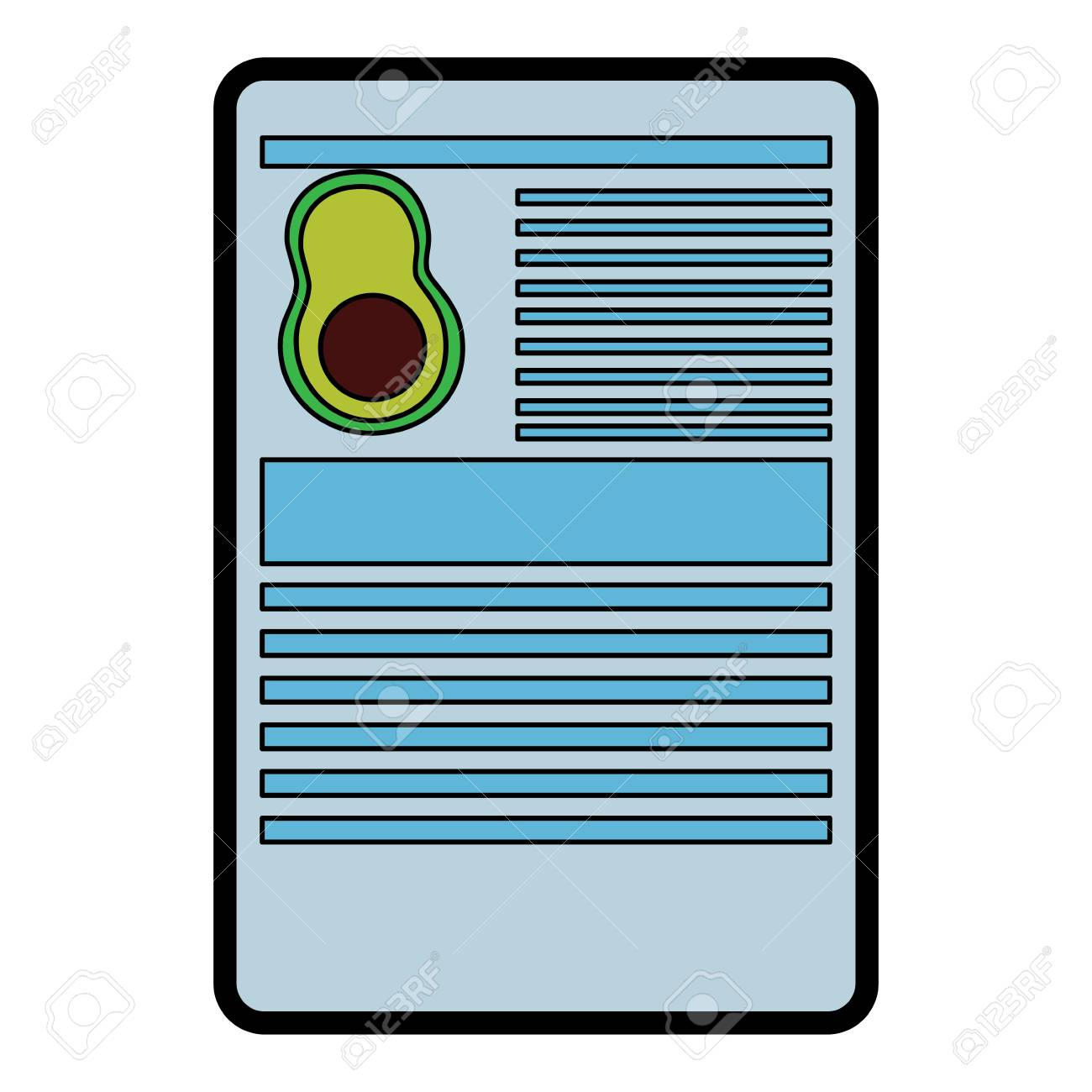 avocado nutrition facts label template vector illustration royalty