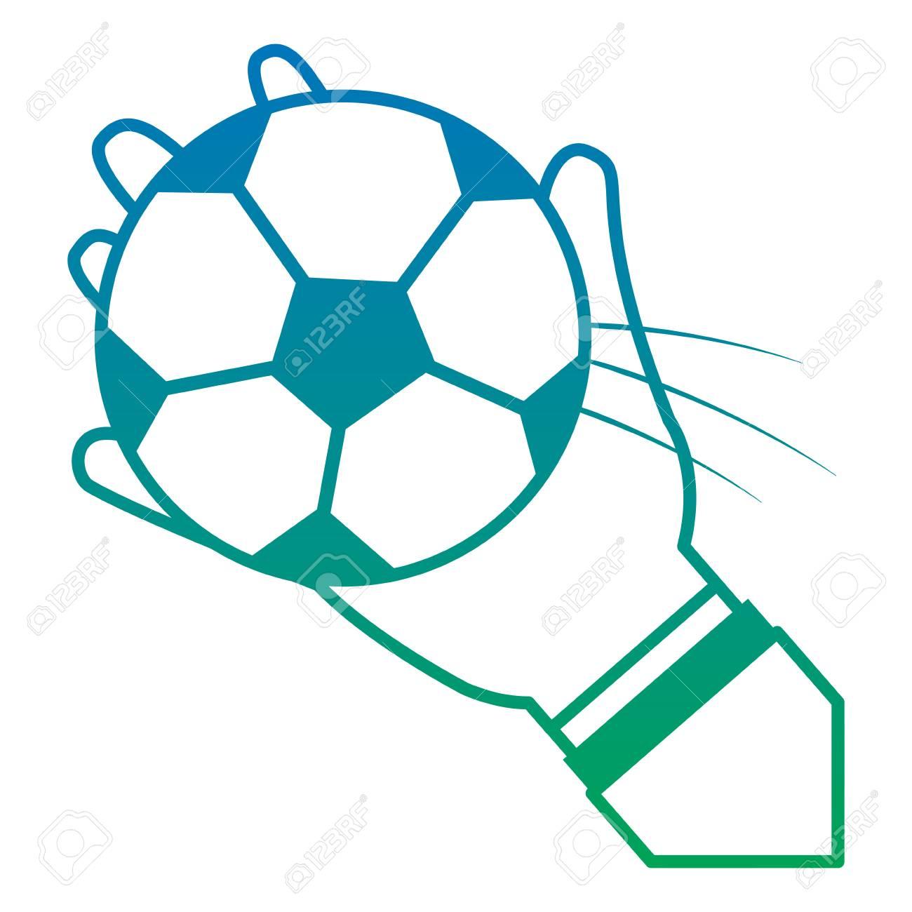 fbc535da62b57 Banque d'images - Mains avec ballon football football image icône vecteur  design bleu pour l & # 39 ; ombre bleue