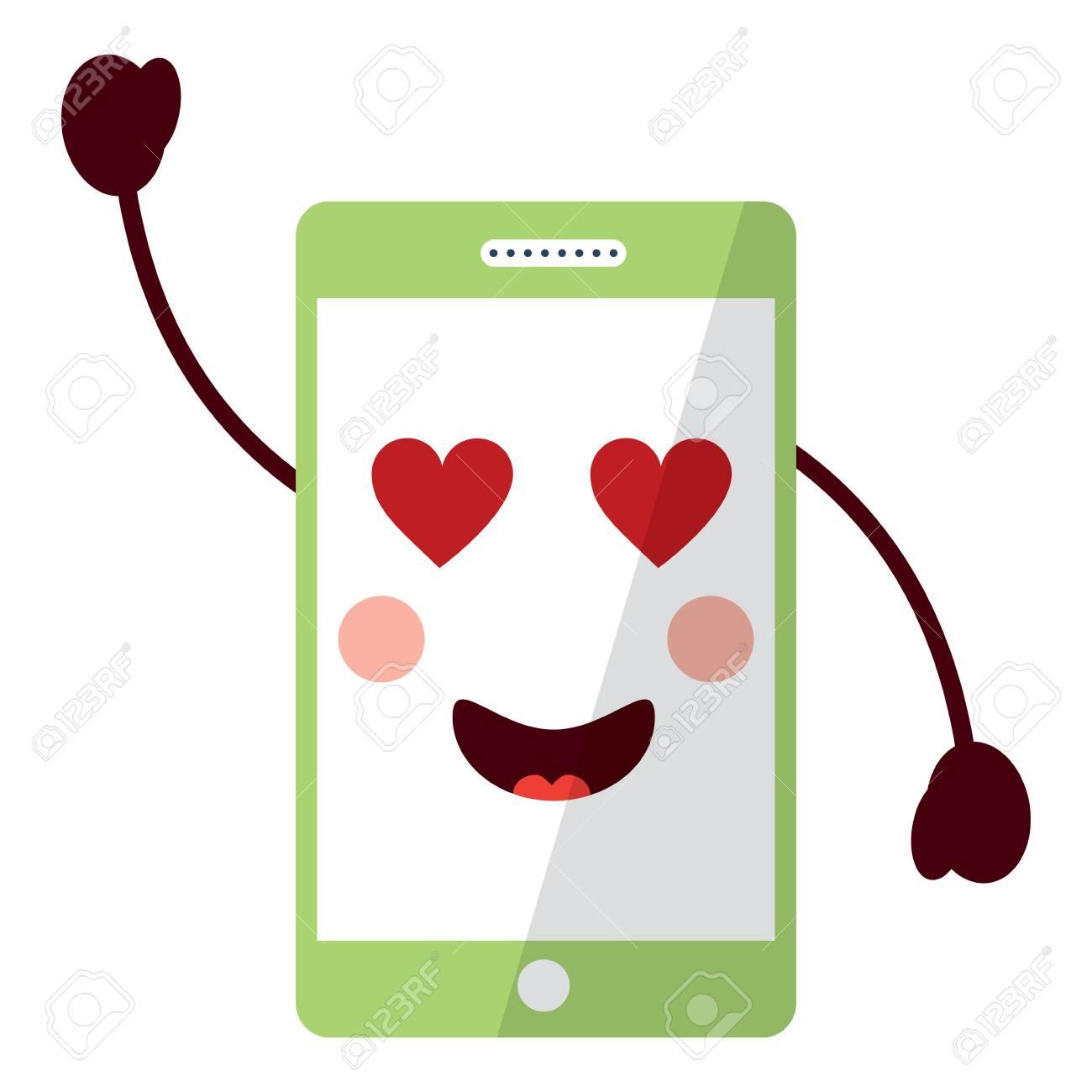携帯電話キャラクター顔文字ベクトルイラスト
