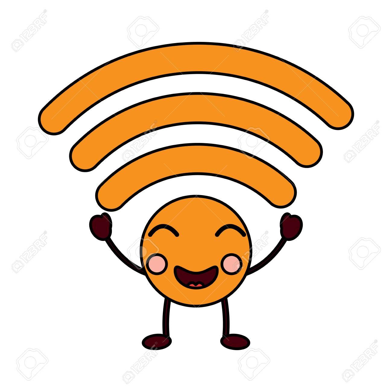 Cartoon Happy Wireless Internet Signal Kawaii Character Vector Royalty Free Cliparts Vectors And Stock Illustration Image 93511852