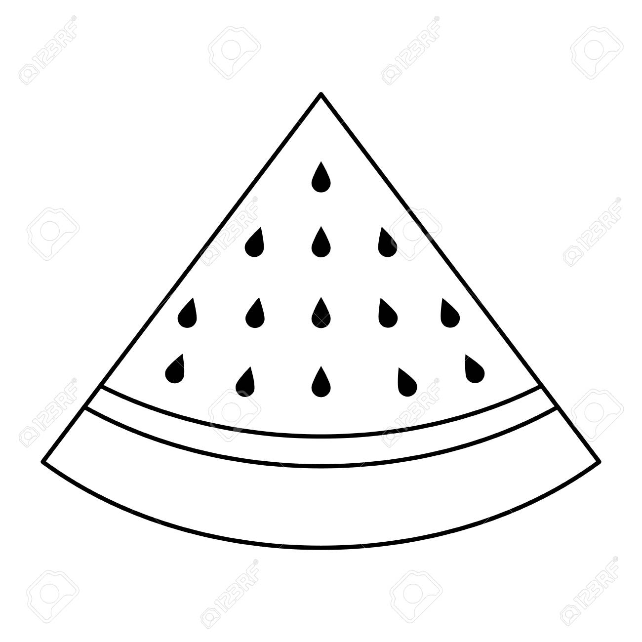 Slice Of Watermelon Outline Design Royalty Free Cliparts Vectors And Stock Illustration Image 93538516