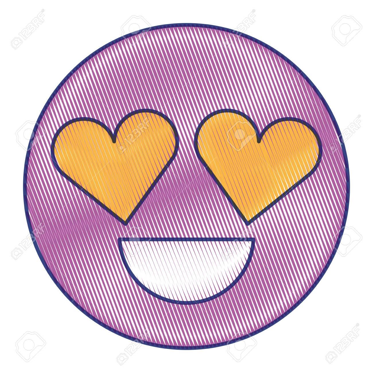 Smile Emoticon Heart Shape Eyes Love Vector Illustration Draw