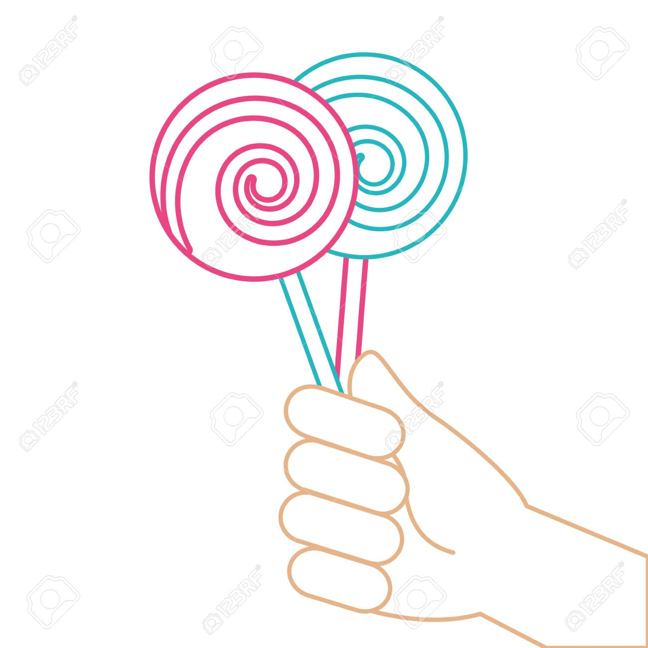 hand holding lollipop sweet candy vector illustration color line rh 123rf com candy vector background candy vector logo