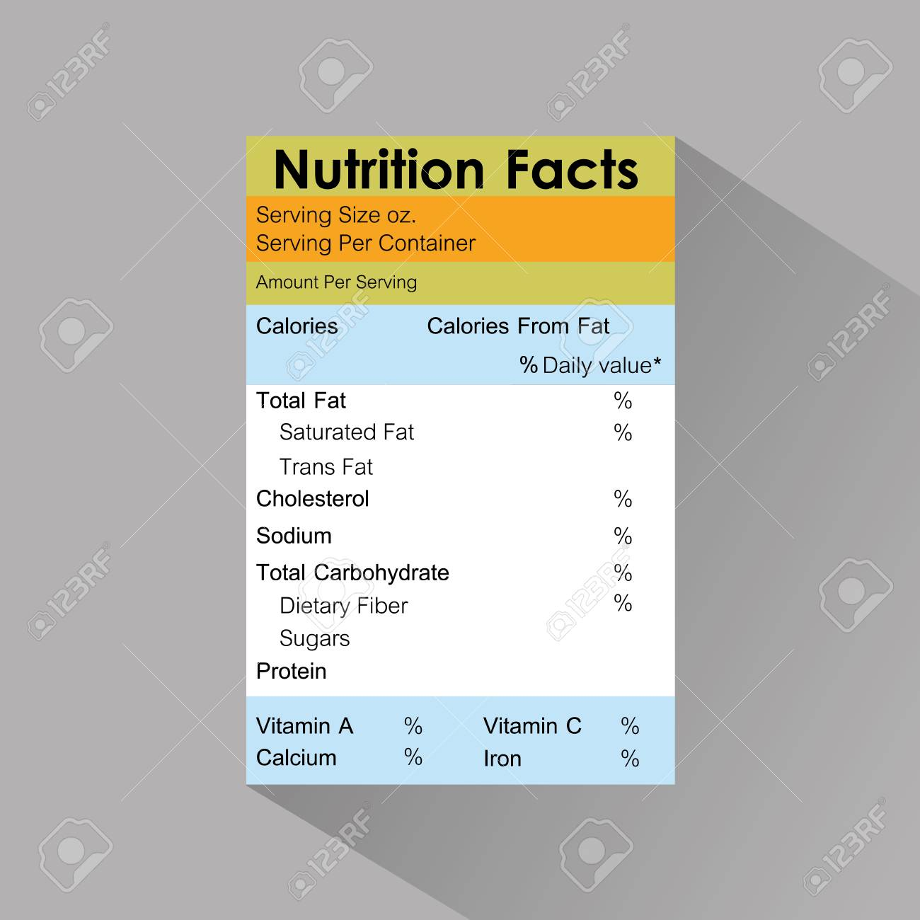 nutrition facts food label template with shadow vector illustration