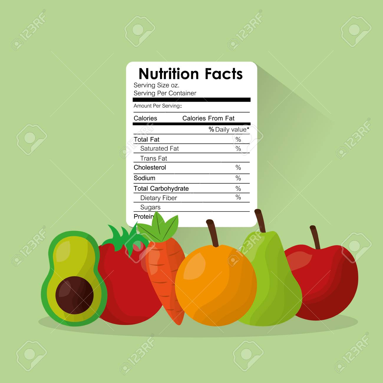 fruit and vegetables healthy food nutrition facts label benefits..