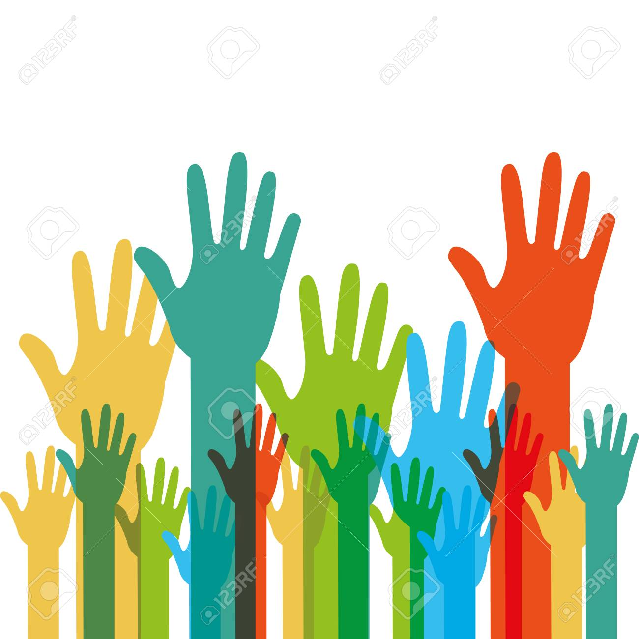 Human hands raised with different colors vector illustration. - 93693633