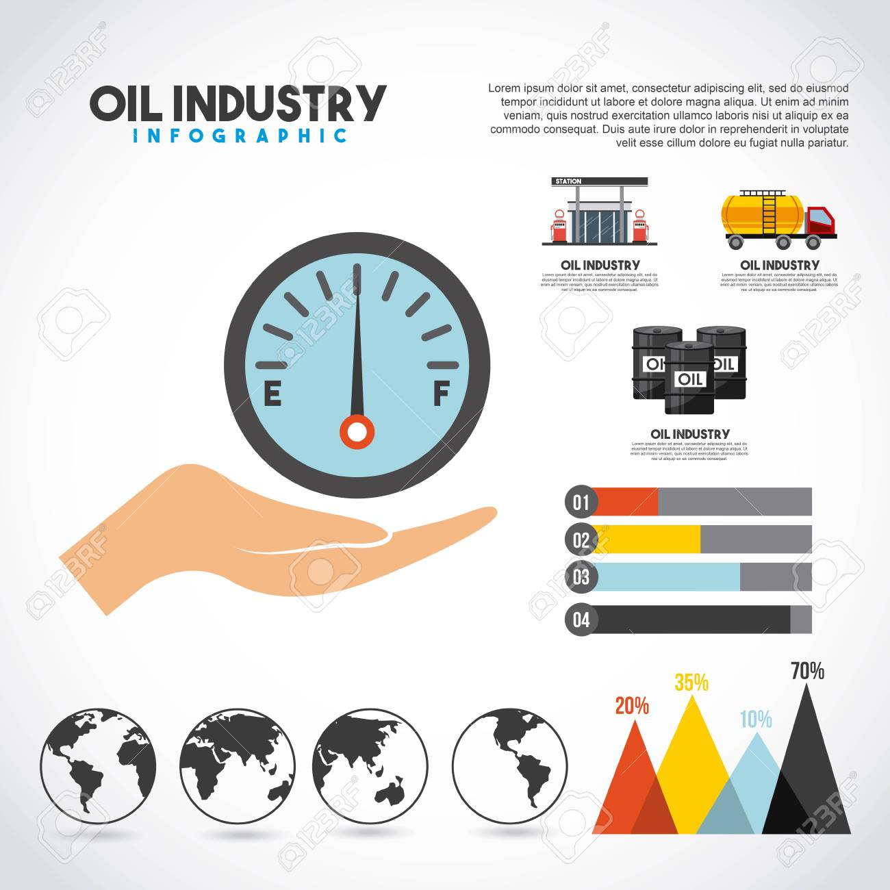 Oil industry info-graphic transport station production graphs