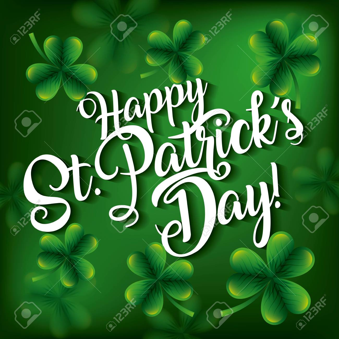 happy st patricks day invitation card with green clovers vector