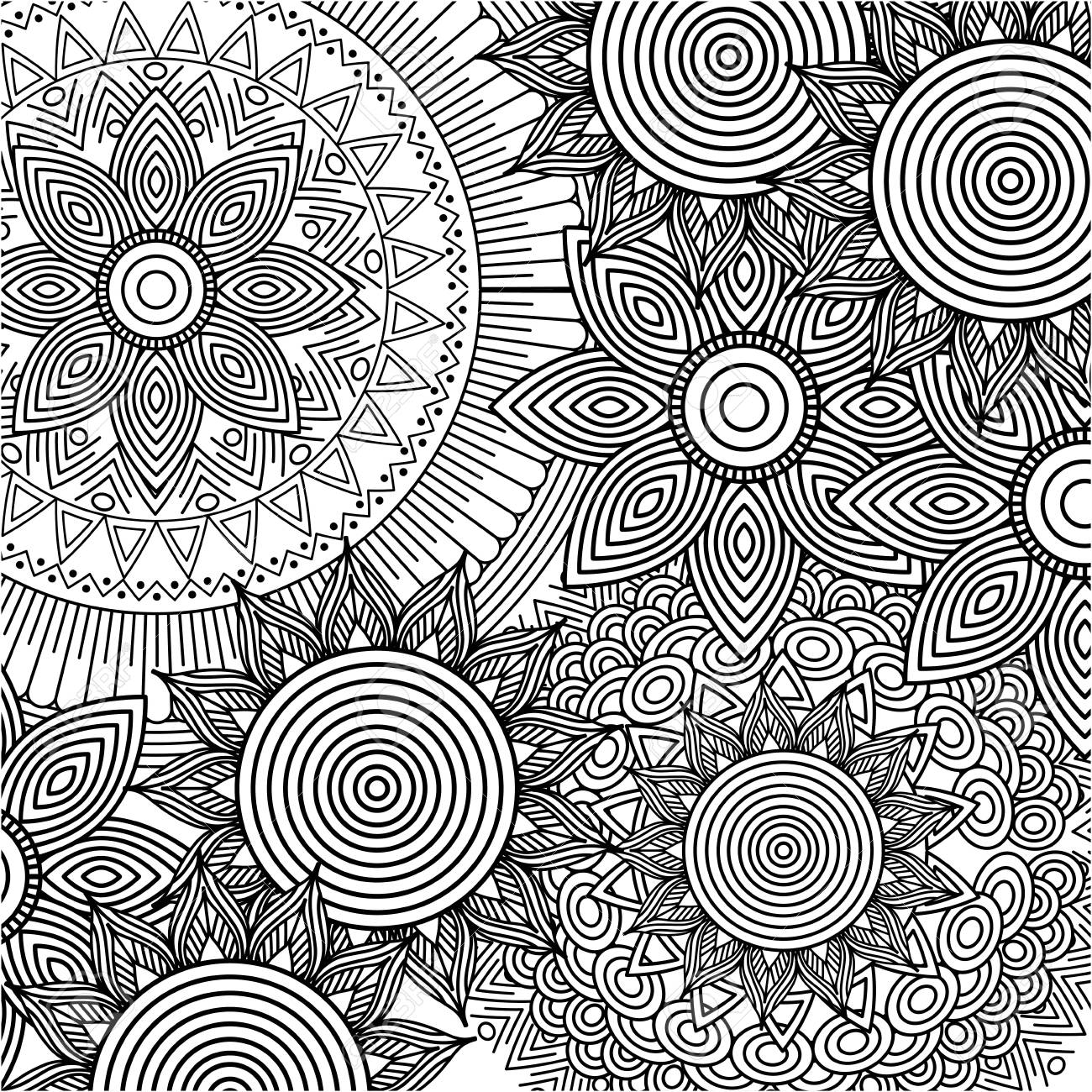 seamless pattern floral round abstract vintage decorative element background adult coloring vector illustration - 93657994