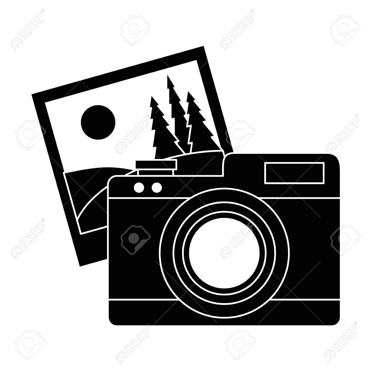 Camera Fotografica Com Desenho De Ilustracao Vetorial De Imagens