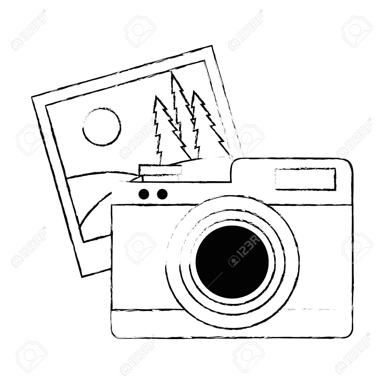 Camera Photographic With Picture Vector Illustration Design