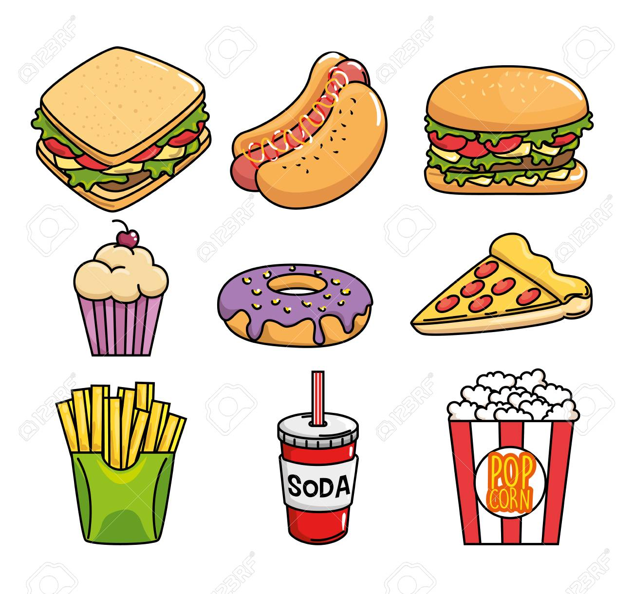 A fast food stickers pop art vector illustration design stock vector 93737155