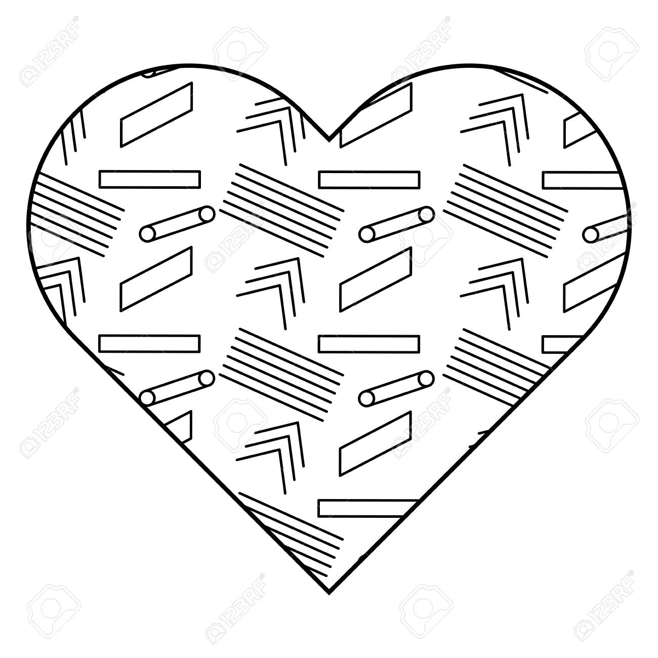 label shape heart with different geometric figures. vector