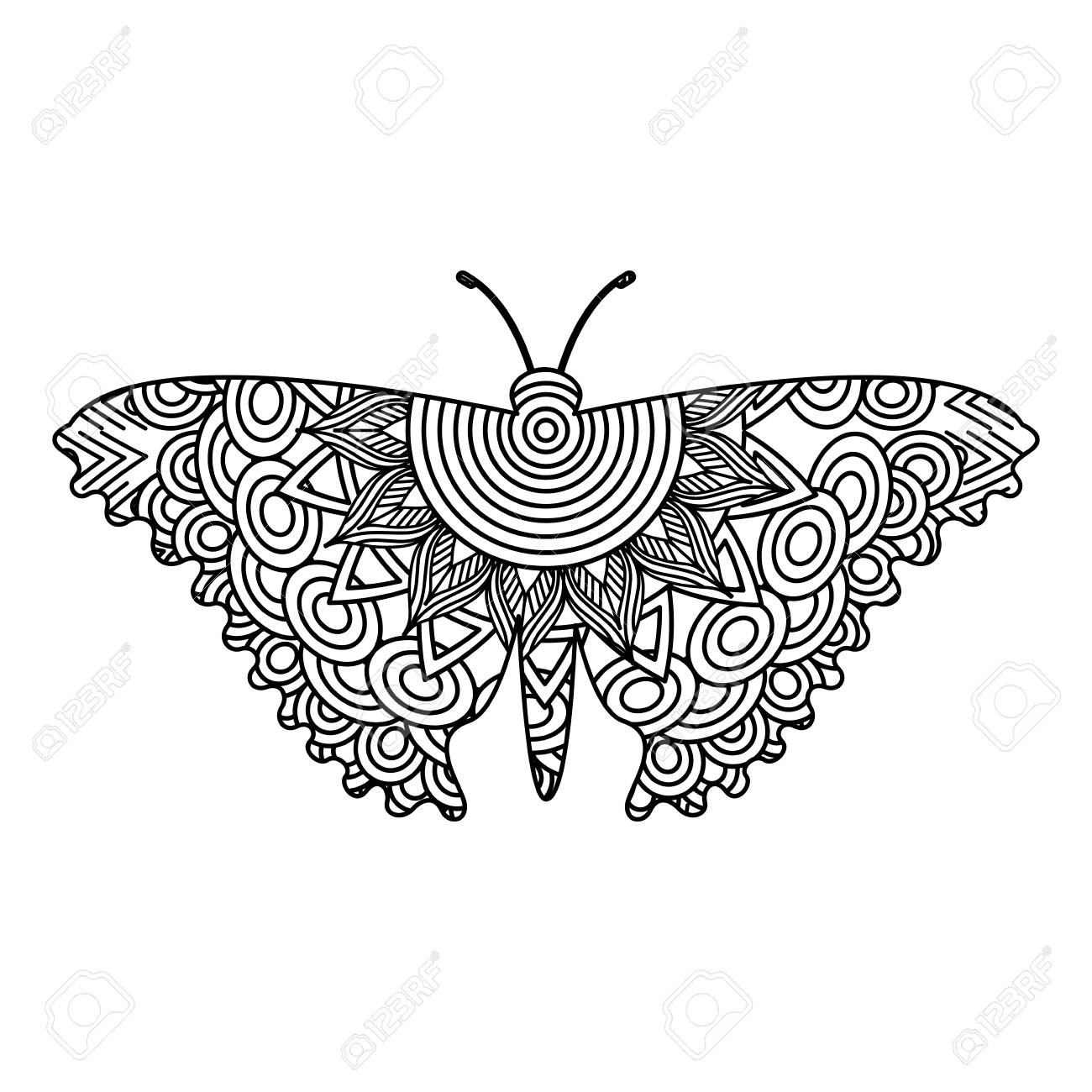 Hand drawn for adult coloring pages with butterfly sketch vector illustration stock vector 93871399