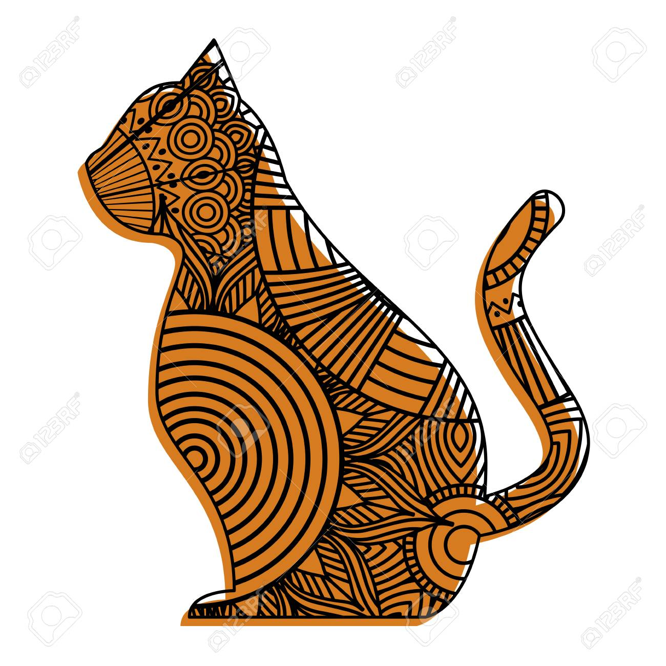 hand drawn for adult coloring pages with cat vector illustration rh 123rf com Football Outline Vector Football Outline Vector