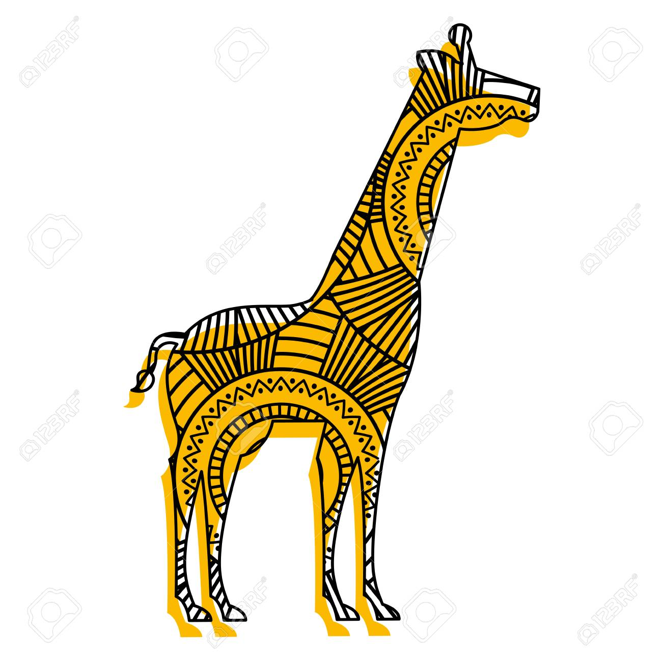 Hand Drawn For Adult Coloring Pages With Giraffe Vector Illustration ...