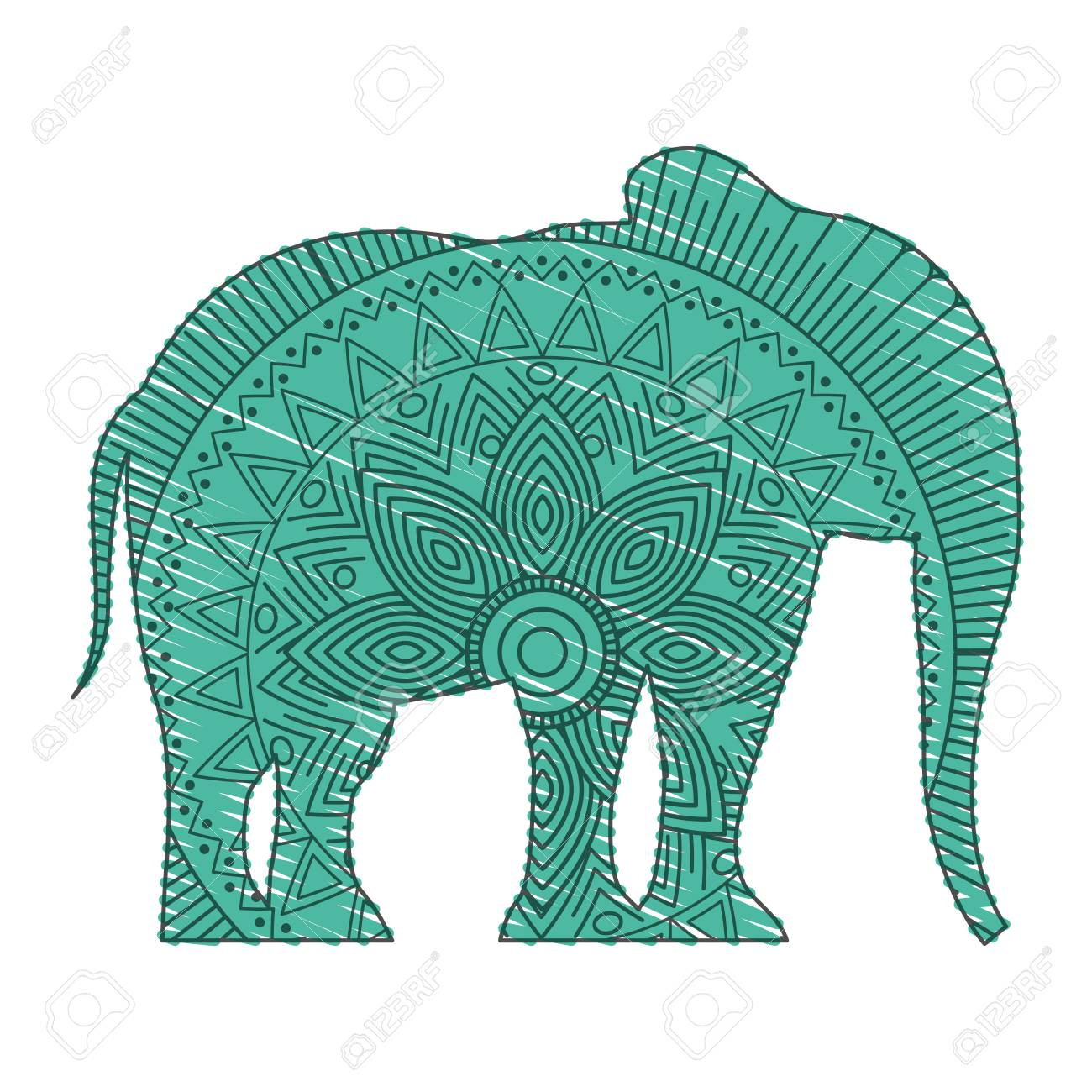Hand Drawn For Adult Coloring Pages With Elephant Vector Illustration