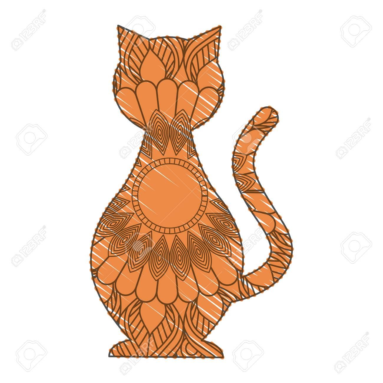 Hand Gezeichnet Für Erwachsene Malvorlagen Mit Katze Katze