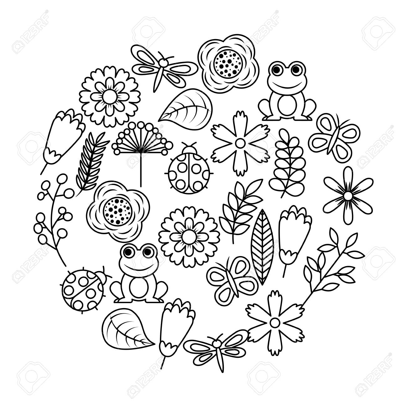Outline images of flowers and butterflies