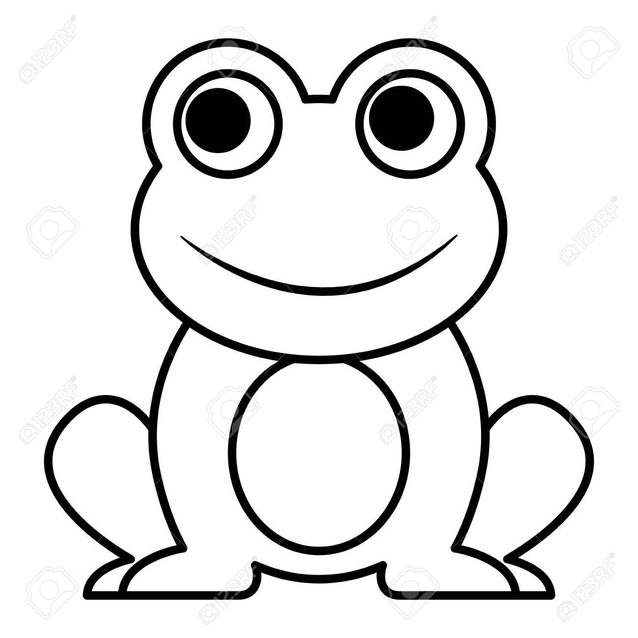 frog cute animal sitting cartoon vector illustration outline rh 123rf com Frog Silhouette Vector Simple Frog Drawing