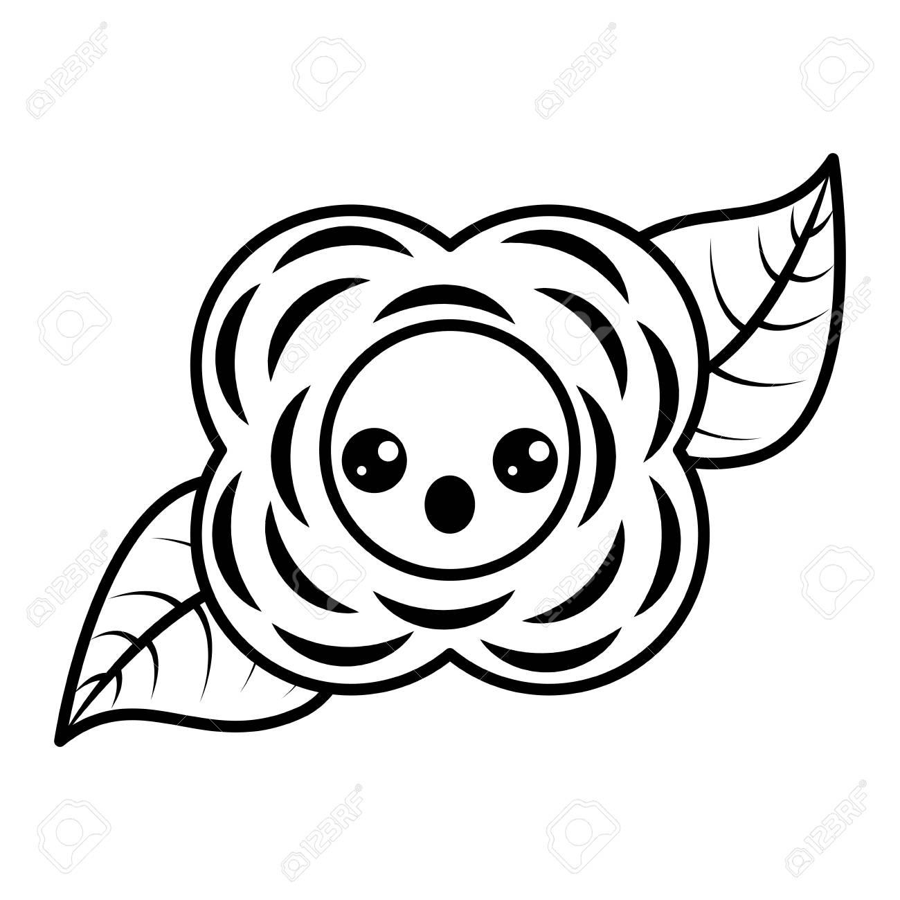 Fleur Kawaii Image Naturelle En Noir Et Blanc Dessin Animé Illustration Vectorielle Contour Image