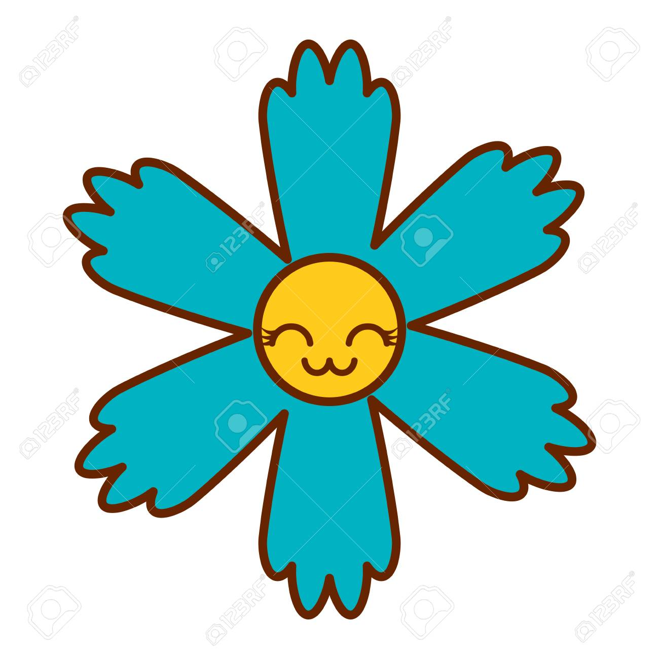 Cute Blue Flower Kawaii Cartoon Vector Illustration Royalty Free