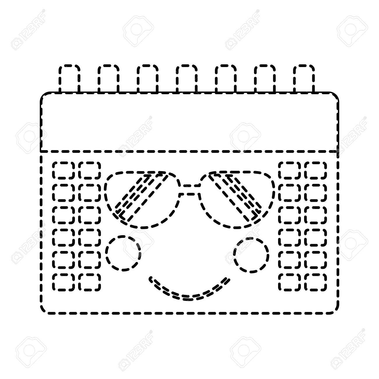 Calendrier Soleil.Calendrier Evenement Mignon Lunettes De Soleil Kawaii Dessin Anime Illustration Vecteur Design