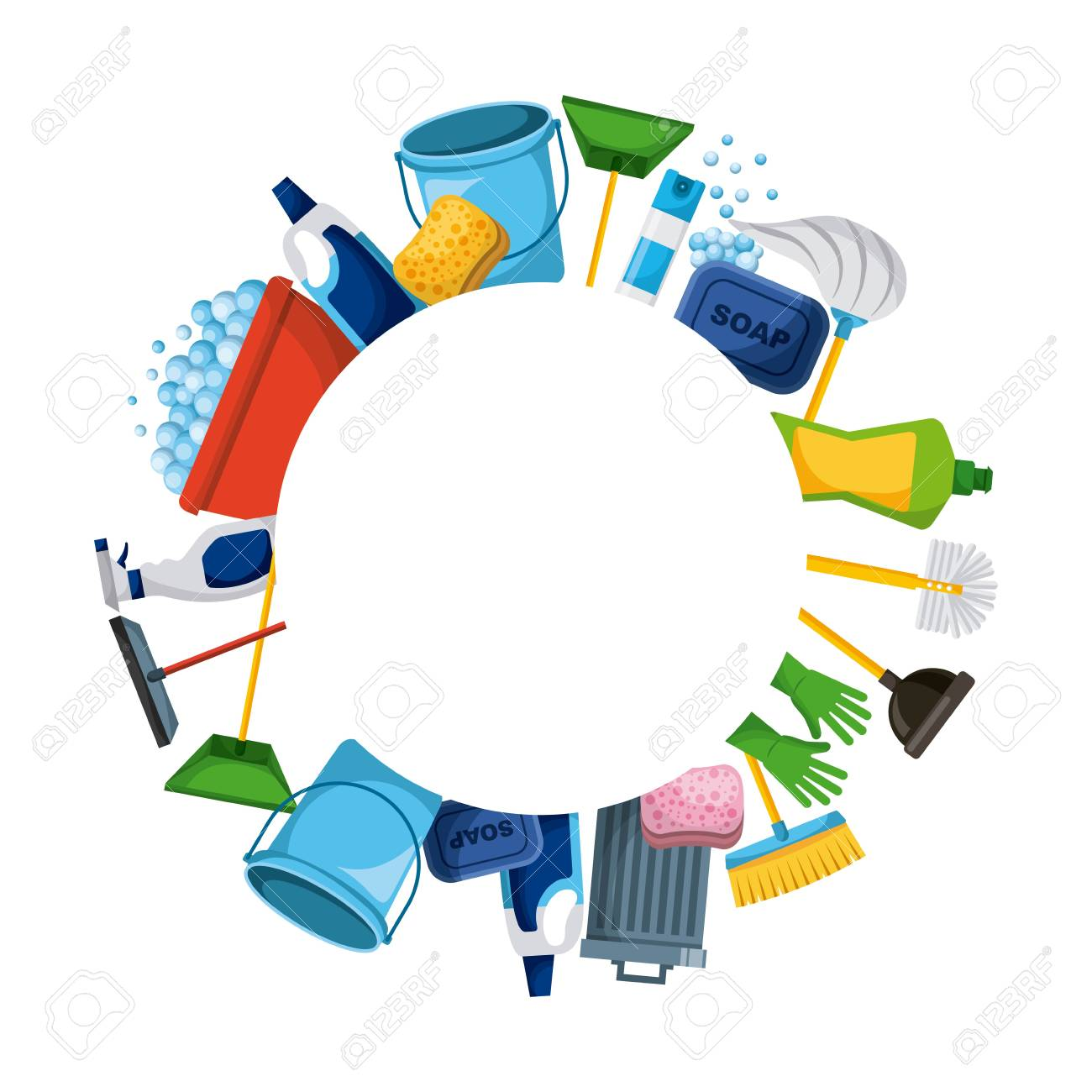 spring cleaning supplies round frame tools of housecleaning background vector illustration - 94106411