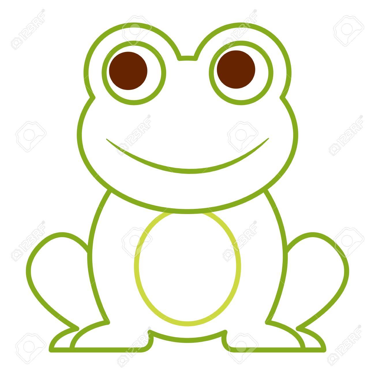 frog cute animal sitting cartoon vector illustration color line rh 123rf com Tree Frog Vector frog line vector