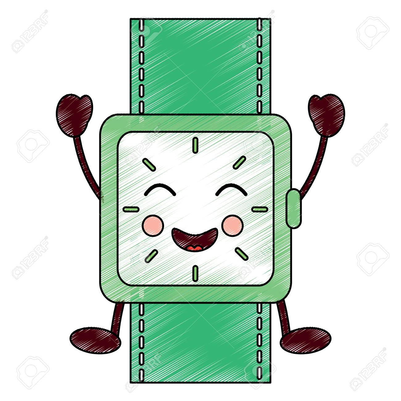 Wrist Watch Bracelet Square Cartoon Vector Illustration Drawing.. Royalty  Free Cliparts, Vectors, And Stock Illustration. Image 94216747.