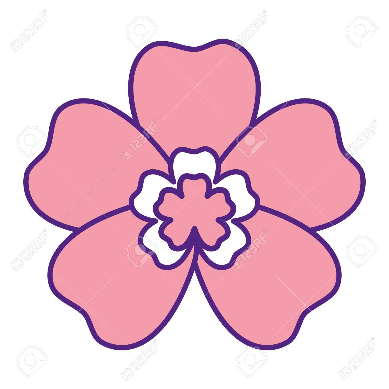 Kawaii Cute Flower Ornament Cartoon Vector Illustration Pink