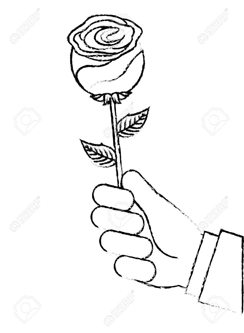 Mão Segurando A Imagem De Desenho De Ilustração De Vetor De Flor Linda
