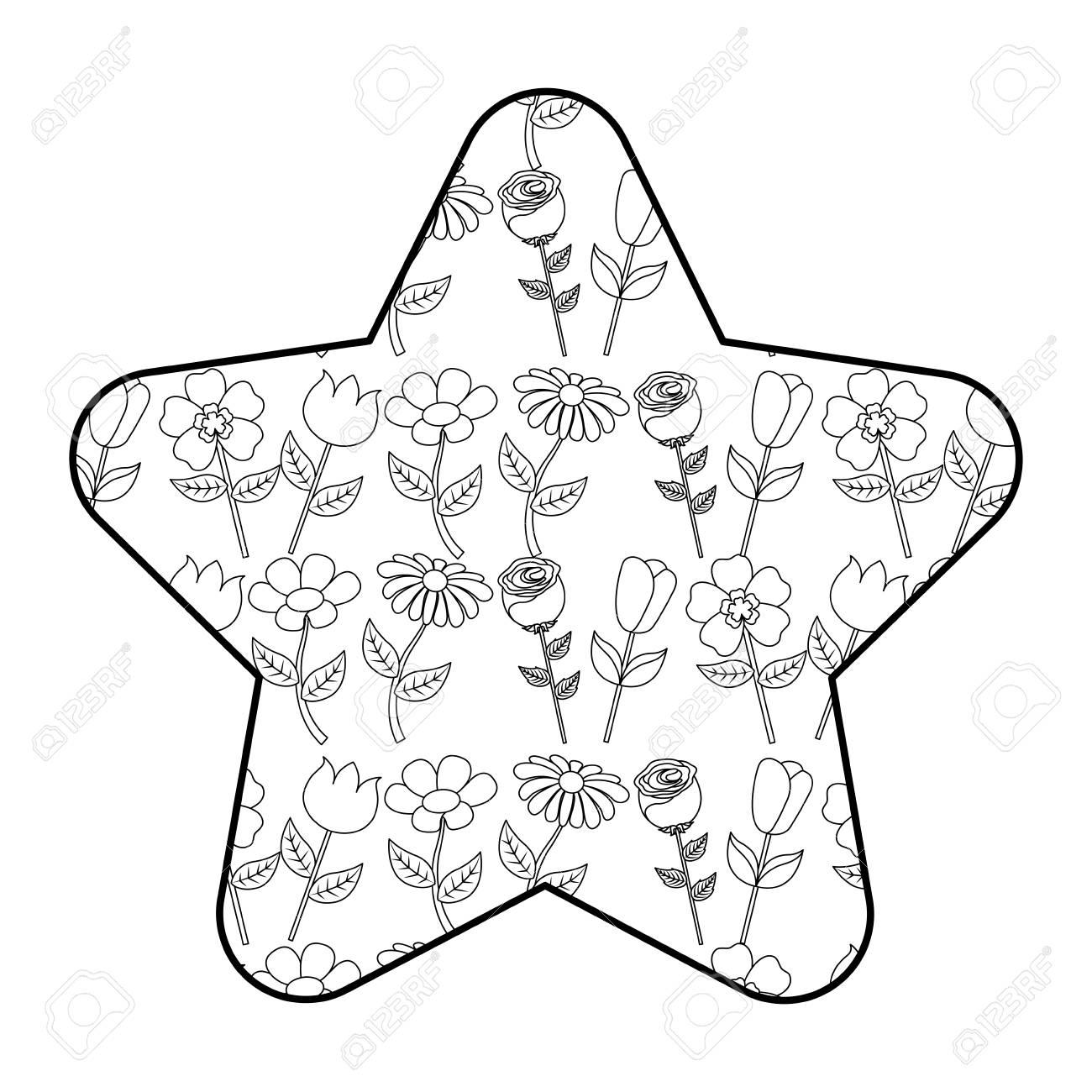 cute star pattern flower petal stem spring style vector illustration outline design stock vector 94471945