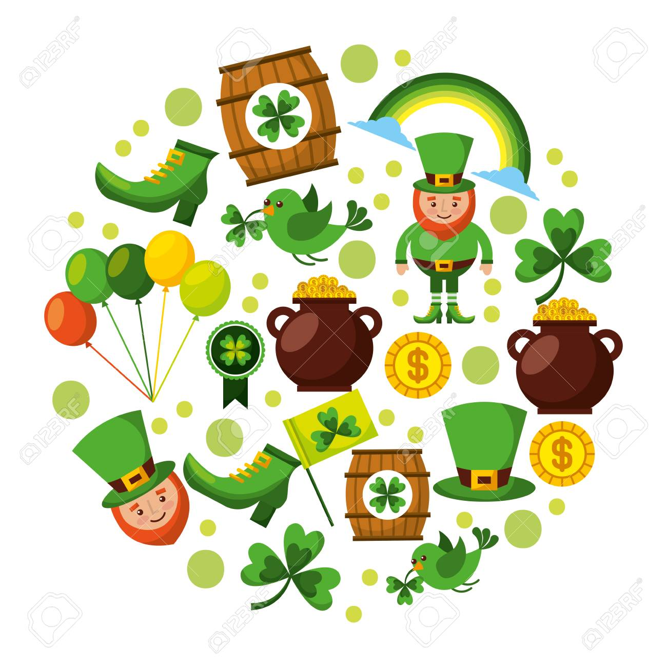 St Patricks Day Celebration Party Elements Icons Vector Illustration Royalty Free Cliparts Vectors And Stock Illustration Image 94473752