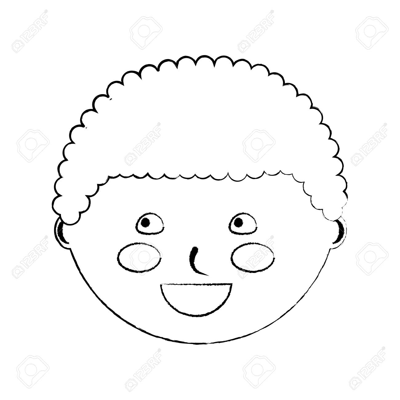 Happy cute boy face young character vector illustration sketch design stock vector 94478045