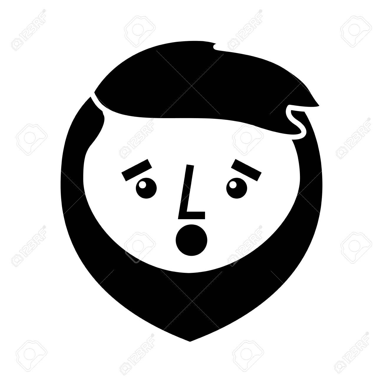 Dessin Animé Surpris Visage Homme Barbe Personnage Vector Illustration Image Noir Et Blanc