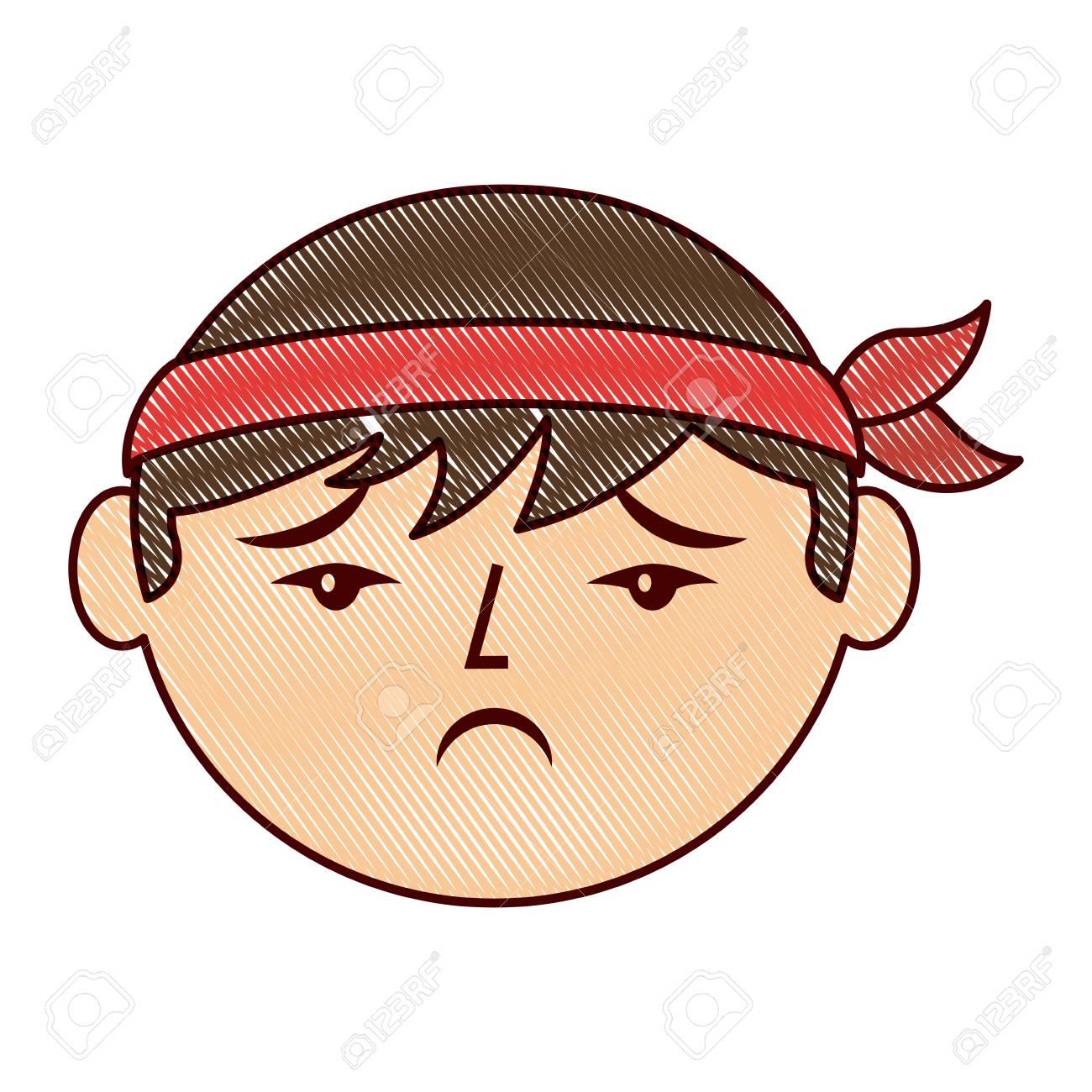 Desenho De Rosto Triste Homem Chines Ilustracao Vetorial Desenho
