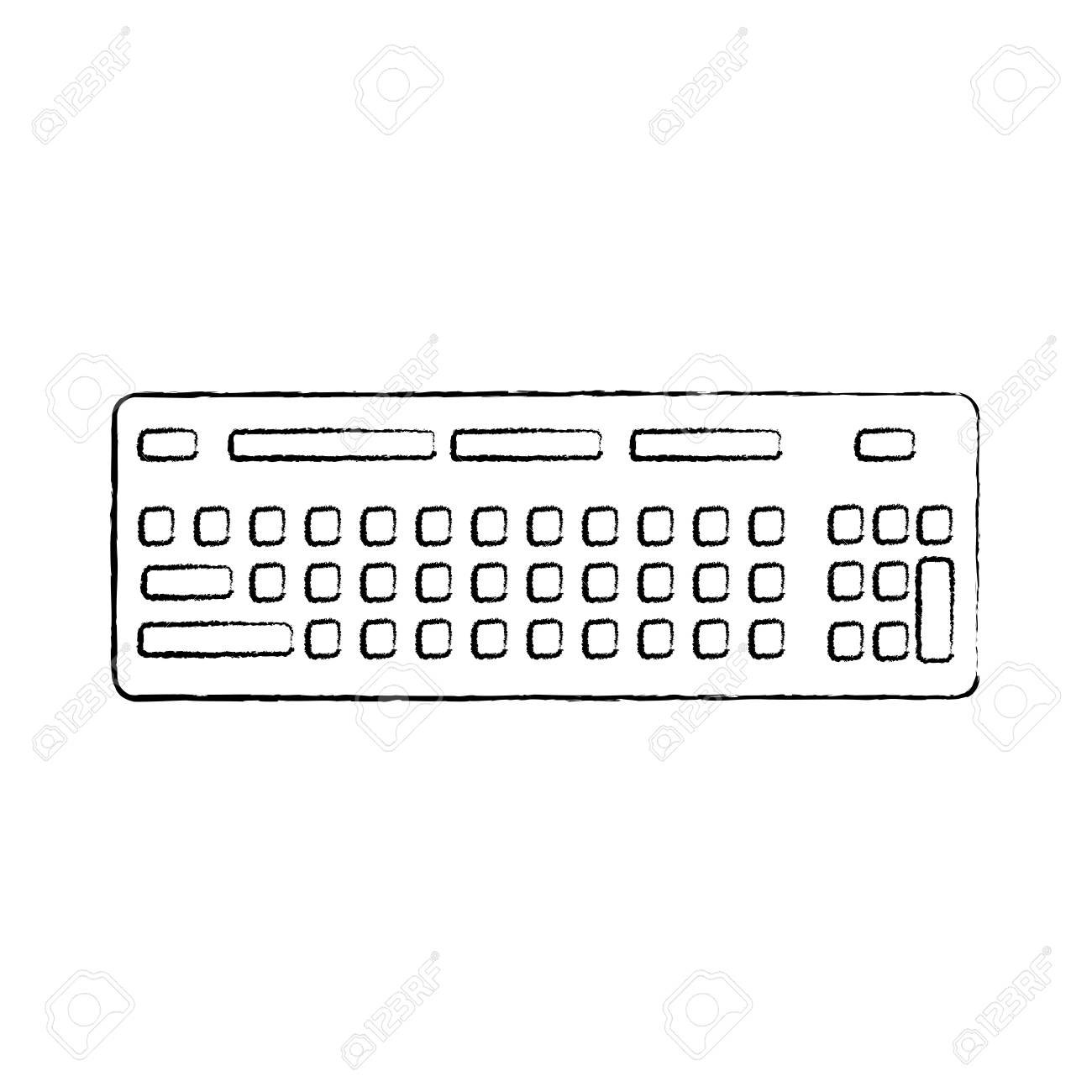 computer keyboard device equipment icon vector illustration sketch