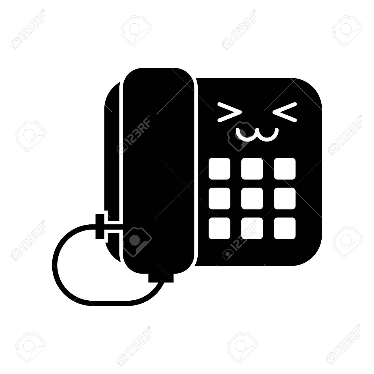 Office Telephone Character Vector Illustration Design Royalty Free