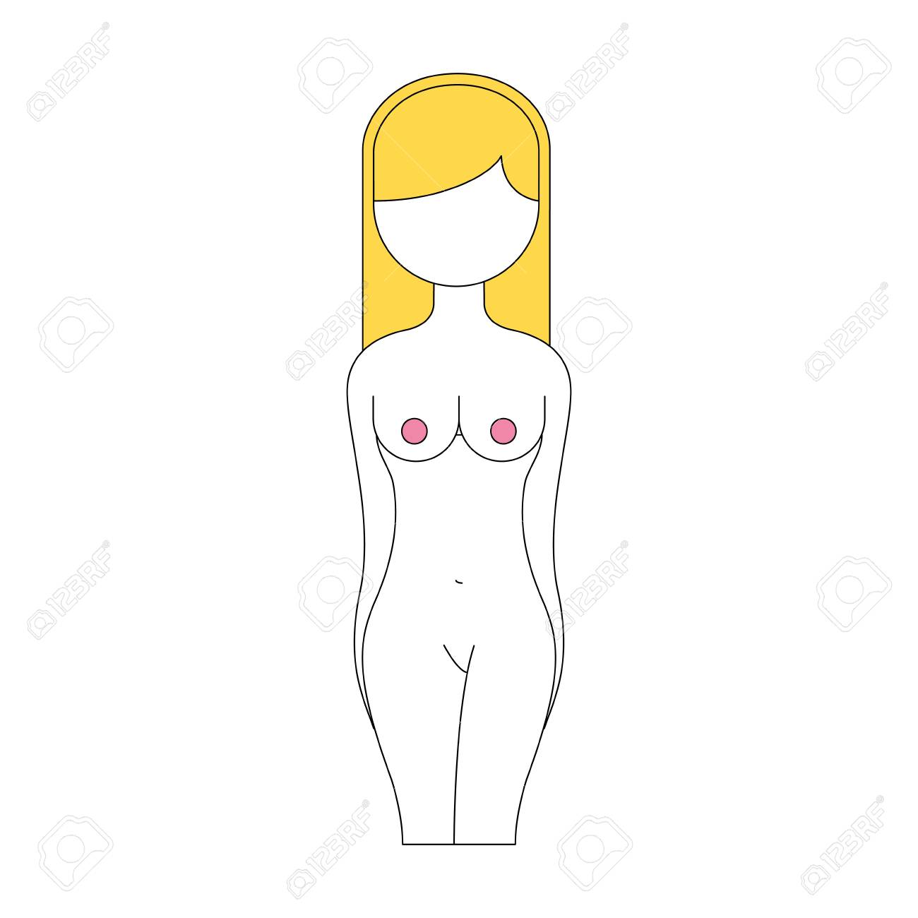 Female Torso Anatomy Silhouette Vector Illustration Design Royalty
